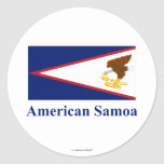 Bandera de American Samoa con nombre Etiquetas Redondas