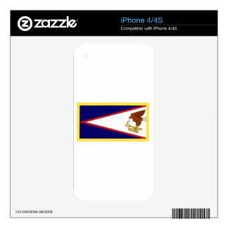 Bandera de American Samoa del borde del oro Calcomanías Para El iPhone 4