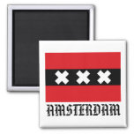 Bandera de Amsterdam Imán Cuadrado