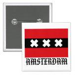 Bandera de Amsterdam Pin Cuadrado