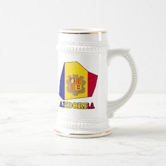 Bandera de Andorra en mapa Jarra De Cerveza