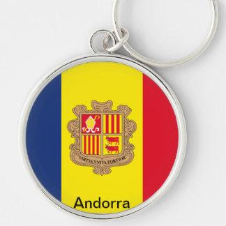 Bandera de Andorra Llavero Redondo Plateado