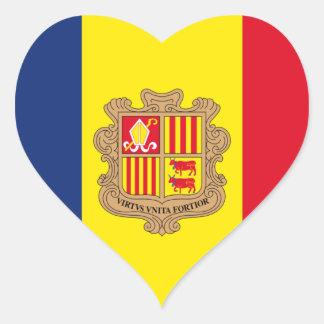Bandera de Andorra Pegatina En Forma De Corazón