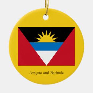 Bandera de Antigua y de Barbuda Adorno Navideño Redondo De Cerámica