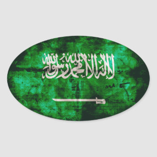 Bandera de Arabia Saudita Pegatina Ovalada
