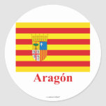 Bandera de Aragón con nombre Etiqueta Redonda