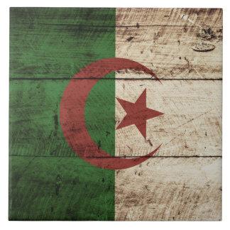 Bandera de Argelia en grano de madera viejo Azulejo Cuadrado Grande