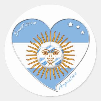 Bandera de ARGENTINA FÚTBOL nacional sol de mayo Pegatina Redonda