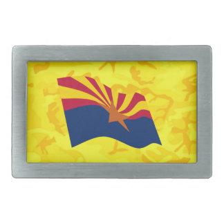 Bandera de Arizona con Camo amarillo Hebilla De Cinturón Rectangular