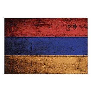 Bandera de Armenia en grano de madera viejo Cojinete