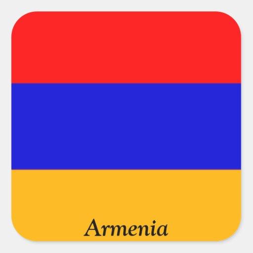 Bandera de Armenia Pegatina Cuadrada