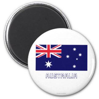 Bandera de Australia con nombre Imán Redondo 5 Cm