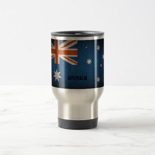 Bandera de Australia del Grunge del vintage Taza Térmica