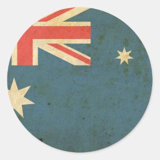 Bandera de Australia del vintage Pegatina Redonda