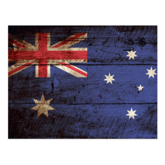 Bandera de Australia en grano de madera viejo Postal