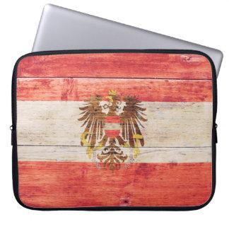 Bandera de Austria en la madera Funda Computadora