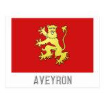 Bandera de Aveyron con nombre Postales