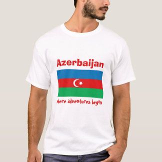 Bandera de Azerbaijan + Mapa + Camiseta del texto