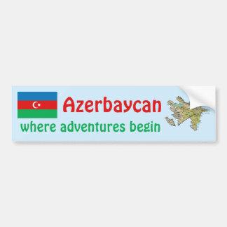 Bandera de Azerbaijan y pegatina para el parachoqu Pegatina Para Auto