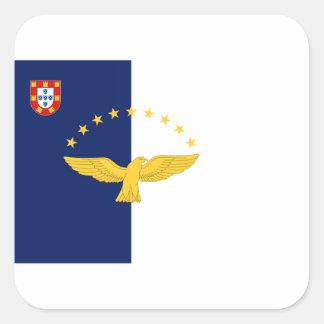 Bandera de Azores (Portugal) Pegatina Cuadrada