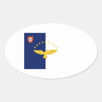 Bandera de Azores (Portugal) Pegatina Ovalada