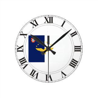 Bandera de Azores (Portugal) Reloj Redondo Mediano
