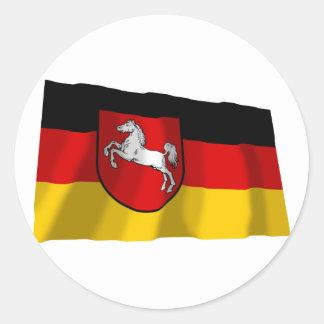 Bandera de Baja Sajonia Pegatina Redonda