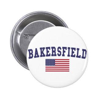 Bandera de Bakersfield los E.E.U.U. Pin Redondo De 2 Pulgadas