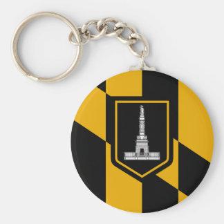 Bandera de Baltimore Llavero Redondo Tipo Pin