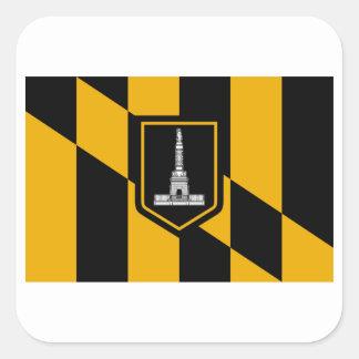 Bandera de Baltimore Pegatina Cuadrada
