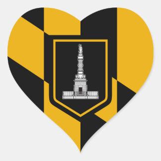 Bandera de Baltimore Pegatina En Forma De Corazón