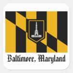 Bandera de Baltimore Pegatinas Cuadradas