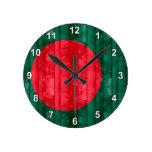 Bandera de Bangladesh de madera Reloj Redondo Mediano
