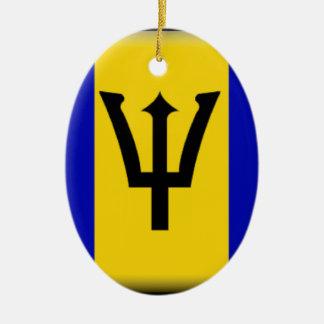 Bandera de Barbados Adorno Navideño Ovalado De Cerámica