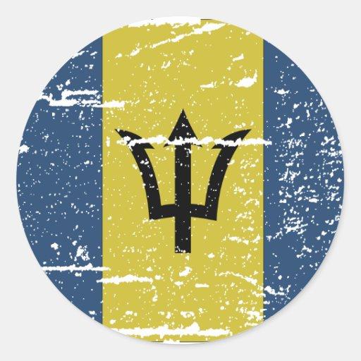 Bandera de Barbados del vintage Etiquetas Redondas