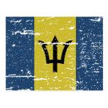 Bandera de Barbados del vintage Postal