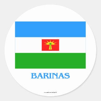 Bandera de Barinas con nombre Pegatina Redonda