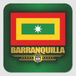 Bandera de Barranquilla Pegatina Cuadrada