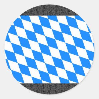 Bandera de Baviera de Alemania Pegatina Redonda