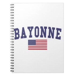 Bandera de Bayona los E.E.U.U. Spiral Notebooks