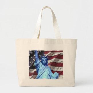 Bandera de Beachbag y estatua de la libertad Bolsas