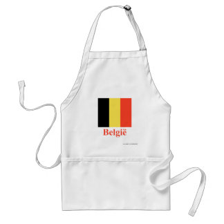 Bandera de Bélgica con nombre en holandés Delantales