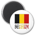 Bandera de Bélgica con nombre Imán Para Frigorifico