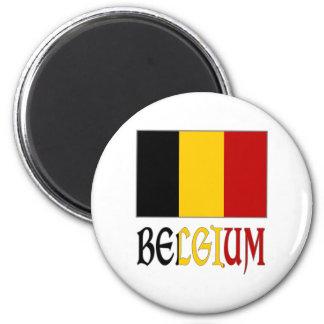Bandera de Bélgica con nombre Imán Redondo 5 Cm