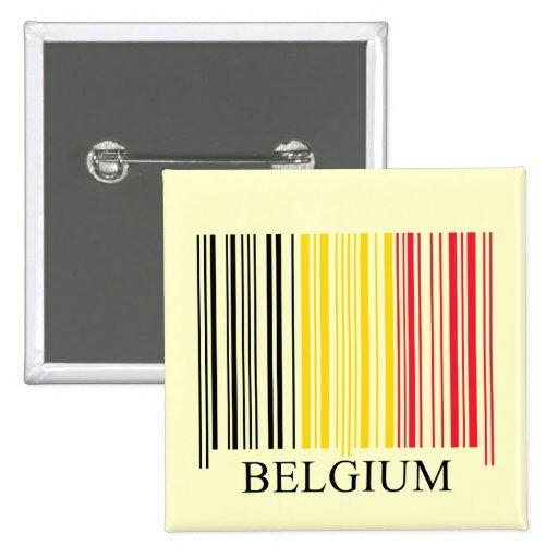 Bandera de Bélgica del código de barras Pin Cuadrado