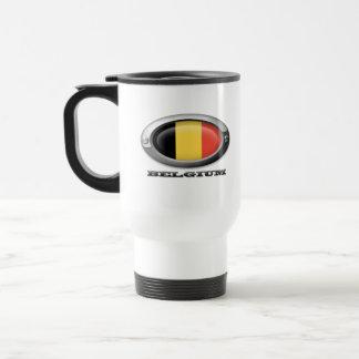 Bandera de Bélgica en el marco de acero Taza De Café