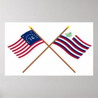 Bandera de Bennington y bandera cruzadas de la mar Impresiones