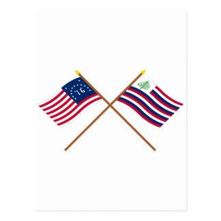 Bandera de Bennington y bandera cruzadas de la mar Tarjeta Postal