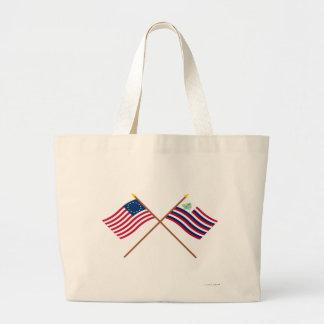 Bandera de Betsy Ross y bandera cruzadas de la mar Bolsa Tela Grande