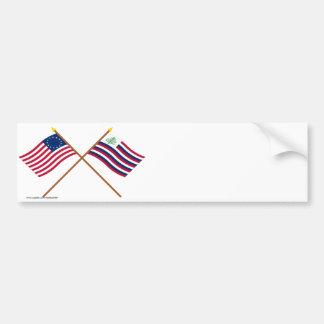 Bandera de Betsy Ross y bandera cruzadas de la mar Etiqueta De Parachoque
